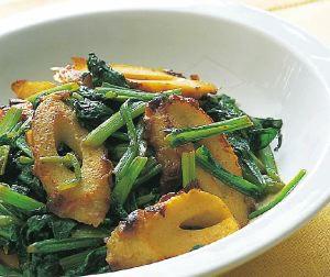小松菜とちくわのカレー炒め
