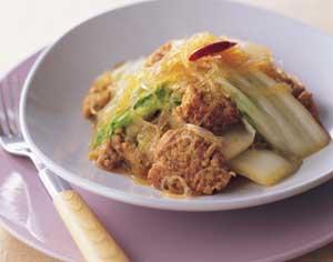 白菜とひき肉、春雨の甘辛煮