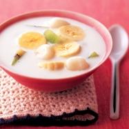バナナと白玉のココナッツデザートの完成イメージ