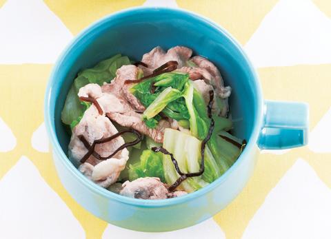 豚肉と白菜の塩昆布蒸しの完成イメージ