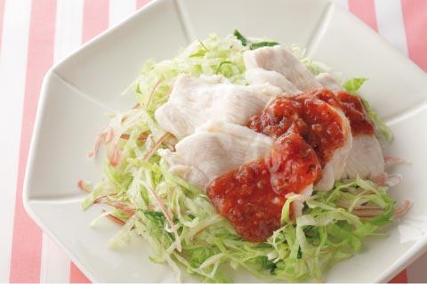 鶏胸肉のゆでしゃぶ梅ダレの完成イメージ