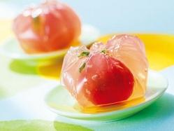 ミニトマトの茶巾寒天の完成イメージミニトマトの茶巾寒天の完成イメージ
