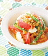しょうゆ麹なめたけドレッシングのトマトサラダの完成イメージ