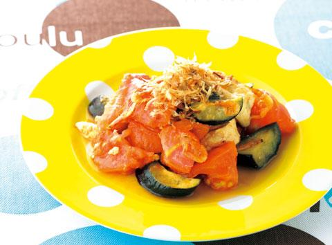トマトとなすのチャンプルー風の完成イメージ
