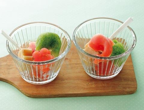 ベジ&フルーツアイス3点盛りの完成イメージ