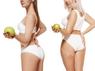 やせている人と太っている人の比較後ろ姿