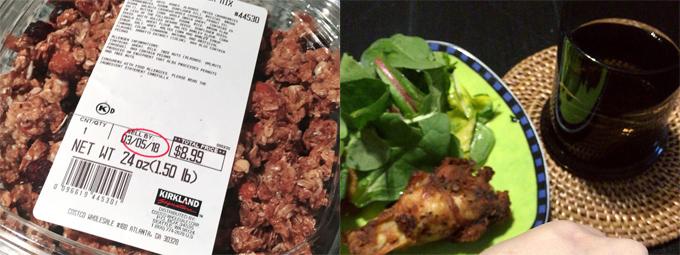 <左>容器に入ったコストコのシリアル <右>お皿の上にはグリーンサラダとチキン、飲みもののセット