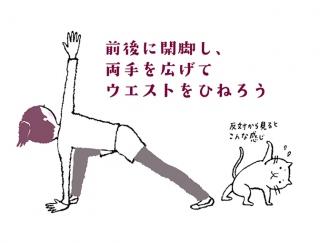 【今日のねこストレッチ】骨盤&ウエストをキュッと引き締める美腹ポーズ