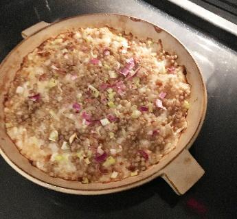 蕎麦の実と山芋のグリルのできあがり器ごと