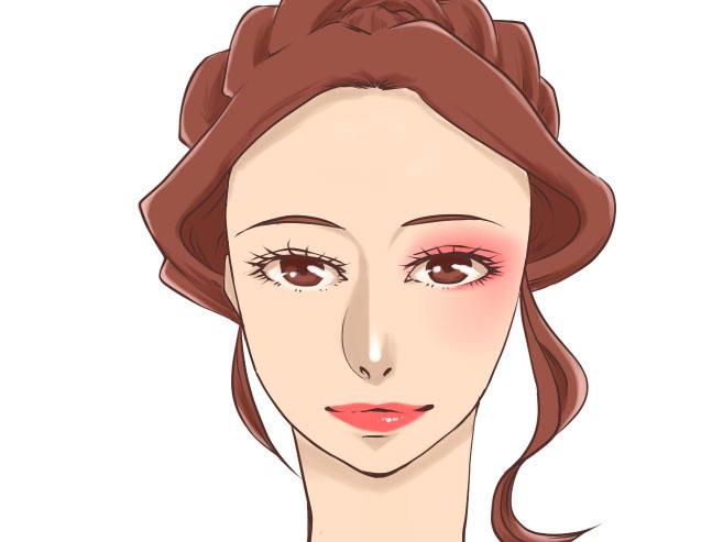 紅い口紅と片目だけ赤のチークとアイシャドウを乗せた女性のイラスト