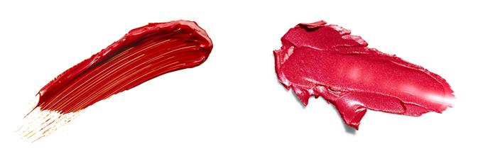 口紅のカラーイメージ左が深紅で右がローズレッド