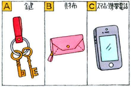 Aは鍵、Bは財布、Cはスマホのイラスト