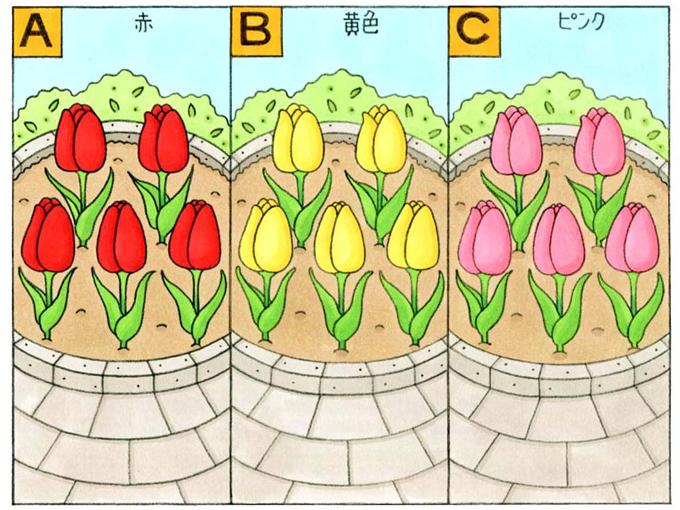 「A」赤、「B」黄色、「C」ピンク