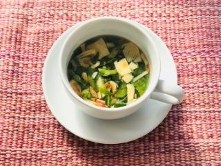菜の花とたけのこのスープのできあがり