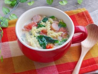 レンジで簡単♡「ほうれん草とトマトの豆乳パスタ」 #明日の朝ごはん