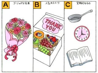 ゴージャスな花束、スイーツ、フライパン、時計、本のイラスト