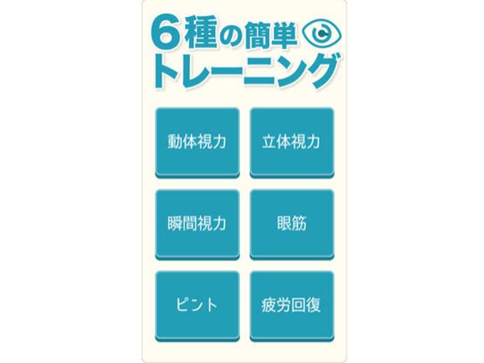 6種のトレーニングメニューが表示された画面