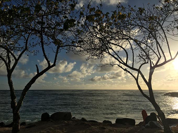 夕暮れ時の海の景色