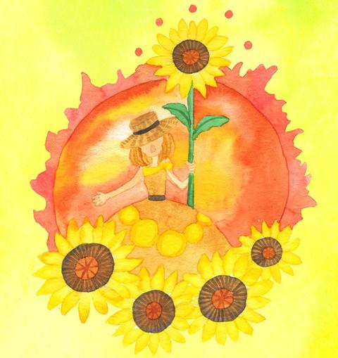 向日葵の人のイラスト