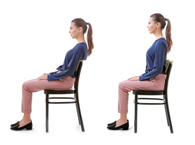 姿勢がいい人と姿勢が悪い人の画像