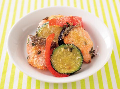 さけと野菜をオーブントースターで焼いたもの〉