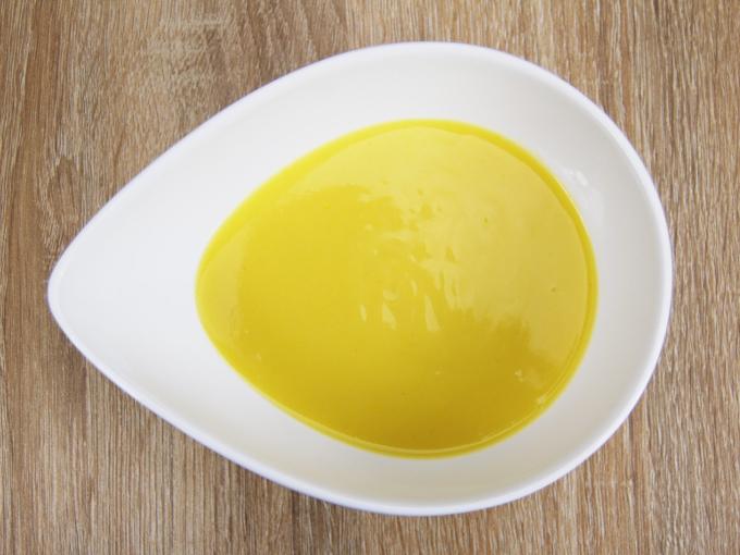 お皿に移した「冷たいかぼちゃのスープ」の画像