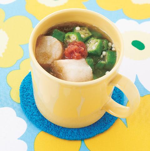とろろ昆布と麩の梅風味スープ