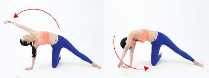 【2】右手を床につき、左腕をつけ根からゆっくりとぐるぐる回します。