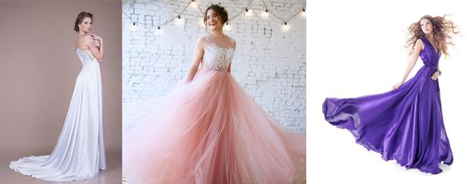 ホワイトドレスピンクドレスバイオレットドレス