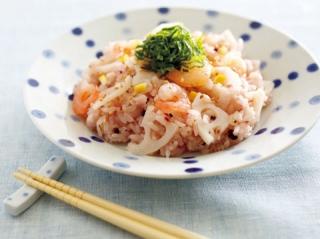 れんこんとえびの塩レモン寿司の完成イメージ