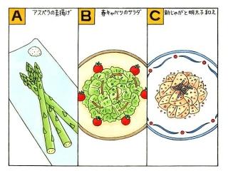 アスパラの素揚げ、春キャベツのサラダ、新じゃがと明太子和えのイラスト
