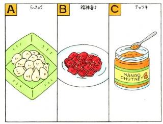 【心理テスト】カレーのつけ合わせ、どれを選ぶ?