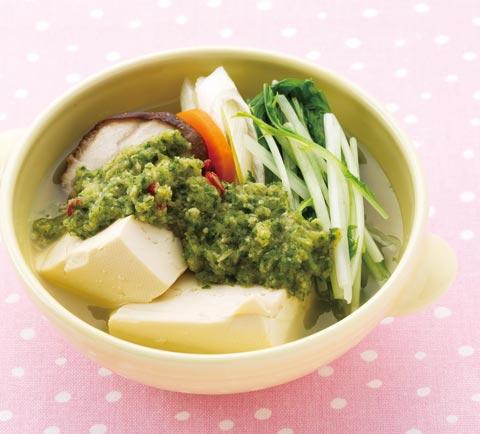 きゅうり&しょうがおろしの燃焼系湯豆腐の完成イメージ