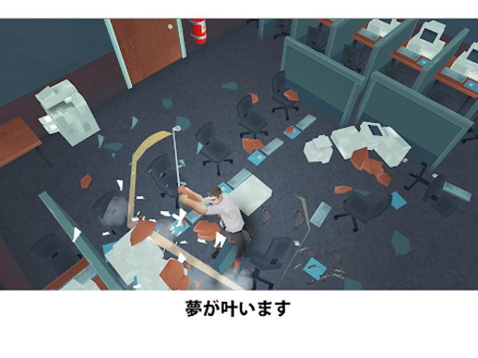 会社員がゴルフクラブを使ってオフィスを破壊している画像