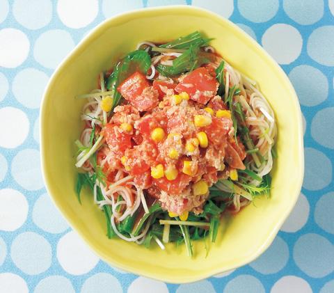 ツナトマトと水菜の冷製パスタ風そうめんの完成イメージ