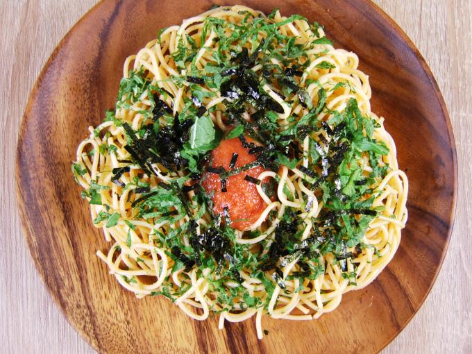 お皿に移した「明太子と大葉の和風パスタ」のアップ画像