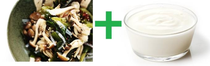 きのこと海藻のサラダとヨーグルトソース