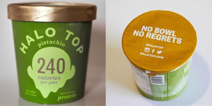 HALO TOPのアイスクリームパッケージとフタをあけたところ
