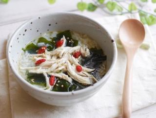 朝たったの5分で完成☆「わかめと蒸し鶏の中華風スープごはん」#明日の朝ごはん