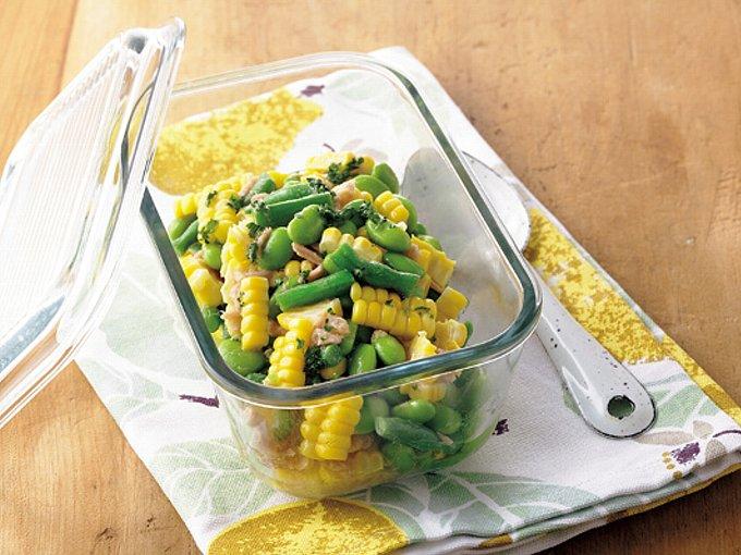 とうもろこしと枝豆の彩りサラダの完成イメージ