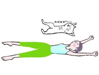 【今日のねこストレッチ】ハードなエクサはお休み!お腹やせに効くのびのびカール