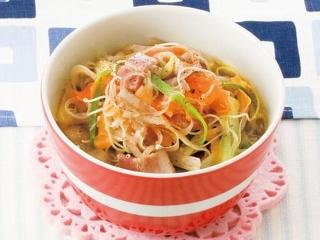 新ごぼうと新にんじんのピリ辛パスタスープの完成イメージ