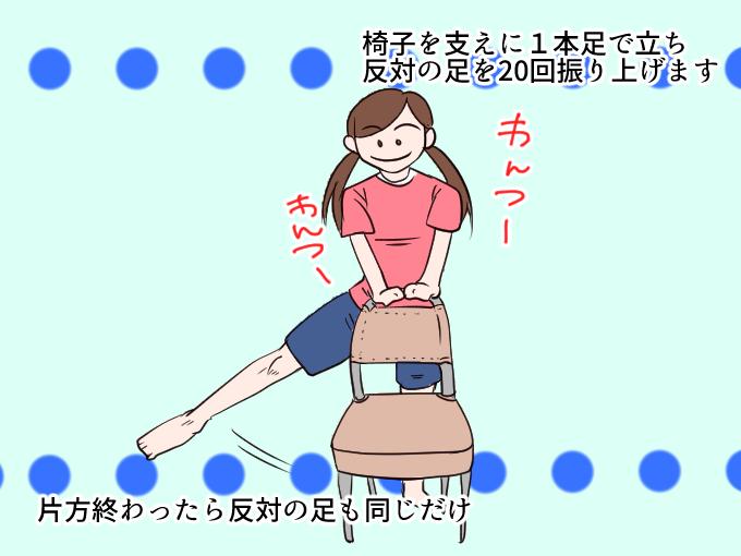 椅子を使いエクササイズをしている女性のイラスト