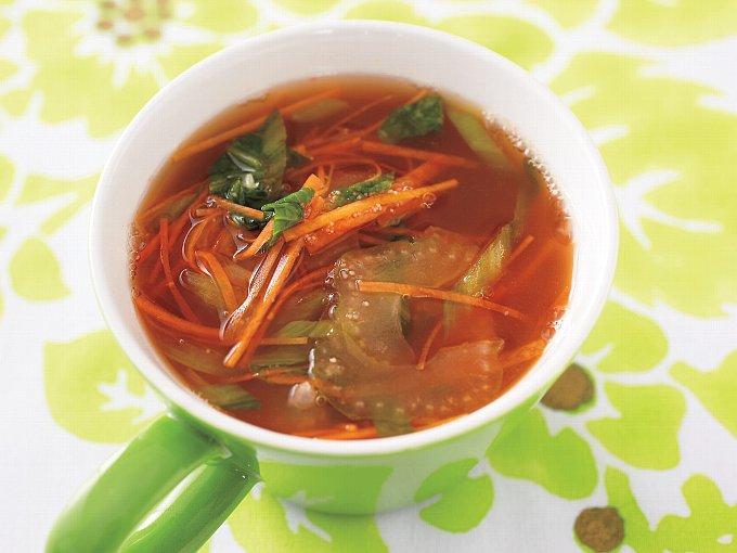 セロリとチンゲンサイの明太子スープの完成イメージ