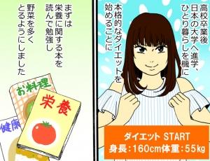 カット野菜を1袋丸ごと使用。レモンのさわやかさと高たんぱく・低脂肪のたらのうまみでムリなく食べられ、ビタミンCの補給に役立ちます。 ■材料(1人分)■ 生たら:1切れ エリンギ:1本 レモン:1/2個 野菜炒め用カット野菜:1袋(250 g) A:顆粒和風だしの素:小さじ1   酒:大さじ1   みりん:大さじ1/2   塩麹:大さじ2 ■つくり方■ (1)生たらは2~3等分に切る。エリンギは縦6等分に切る。レモンは飾り用に3~4枚輪切りにし、残りは果汁をしぼる。 (2)鍋に水2カップとAを入れて火にかけ、煮立ったら、野菜炒め用カット野菜、エリンギ、生たらを入れ、レモン汁を加える。具に火が通ったら、最後に輪切りのレモンをのせる。 次回はキヨノさんの運動法をご紹介します。 イラスト/上田耀子