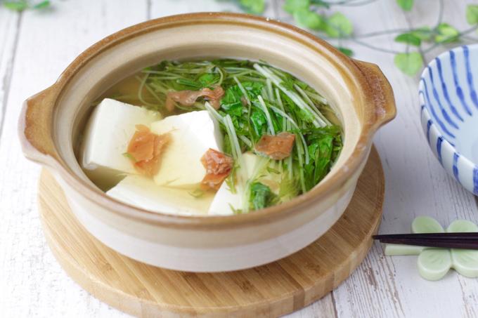 豆腐と水菜の梅鍋できあがり