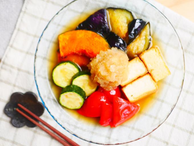 野菜と厚揚げの焼き浸し~さっぱりみぞれがけ~