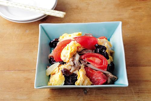 トマトときくらげの卵炒めの完成イメージ