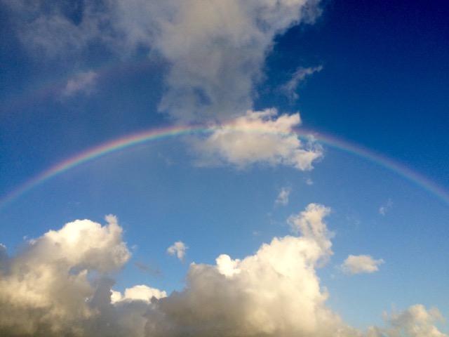 青空に虹がかかっている