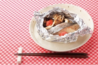 白身魚と梅のホイル焼きの完成イメージ